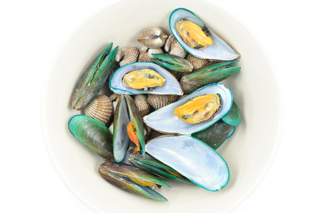 mussels: Mussels and Cockle in bowl Stock Photo