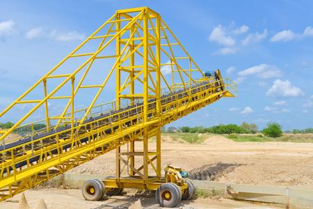 aggregates: Mobile conveyor and Sand mining Stock Photo