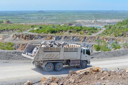 conveyors: Limestone quarry and transportation Stock Photo