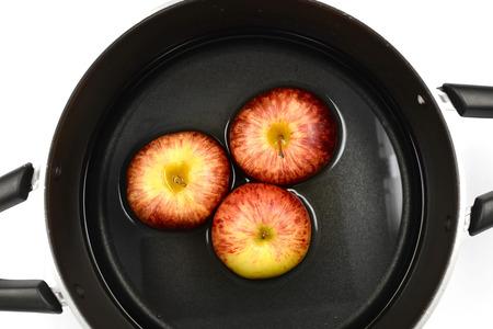 Gala Apple in pot Stock Photo