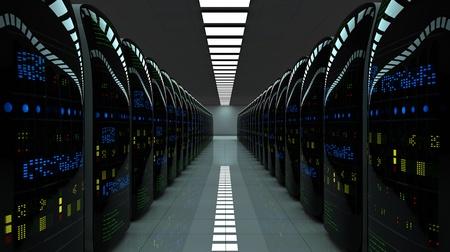 disco duro: Sala de servidores futurista. Servidores de datos de trabajo con luces LED intermitentes