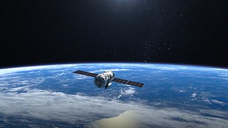 Flying satellite. Tthe satellite flies faraway from camera.