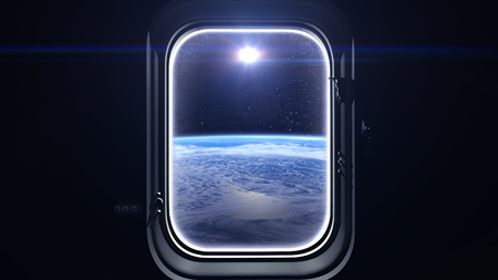 to mend: The sun in the window of the spacecraft. The view from space. Sunrise over the Earth. Space, earth, orbit, ISS, NASA. 3D rendering Stock Photo