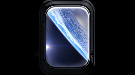 to mend: Space porthole. Earth as seen through window of spaceship, Space, earth, orbit, NASA. 3D rendering Stock Photo