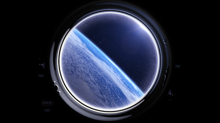 orbiting: A view of the Earth from through the porthole of a spaceship. International space station is orbiting the Earth. Space, earth, orbit, ISS, NASA. 3D rendering. Stock Photo