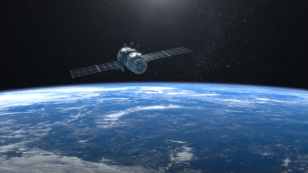 Satellite. The flight of the satellite over the Earth.