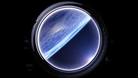 Earth as seen through window of International Space Station. International space station is orbiting the Earth. ISS, Space, earth, orbit, ISS, . 3D rendering.