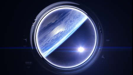 Space. Earth through the porthole window. The sun in the window of the spacecraft. The flight of the spaceship over the Earth. Realistic atmosphere. Volumetric clouds. Starry sky. . 3D rendering. Stock Photo
