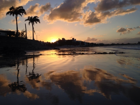 reflective: Beautiful sunset over the beach in north Brazil