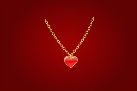 coulomb: red coulomb heart in a frame on a gold chainlet Stock Photo