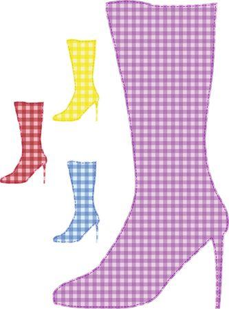 knee boots; womanish; varicolored; pattern; background; dark blue; yellow; Stock Photo