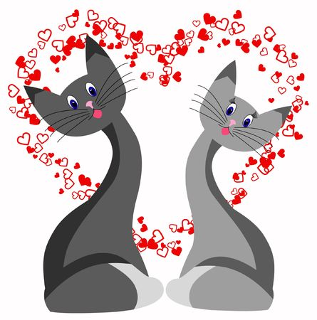 decoratively: cat love heart  abstraction romance stylized Stock Photo