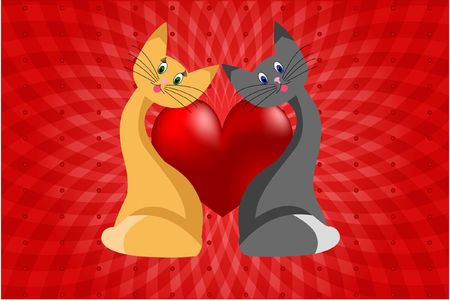 cat heart love abstraction romance stylized Stock Photo - 6343759