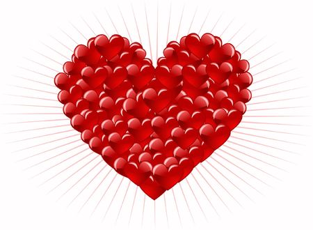 decoratively: Red heart abstraction in valentine day, romance decoratively pattern