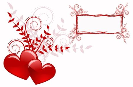 amorousness: Red heart abstraction in valentine day, romance decoratively pattern
