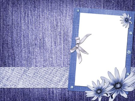 blue jeans: skrapbuking abstraction background flowers jeans Stock Photo