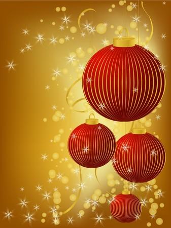 merrily: stylized Christmas ball on decorative background Stock Photo