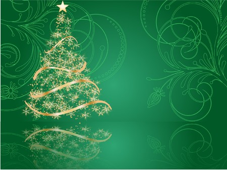 stylized Christmas tree on decorative background Stock Photo - 7772244