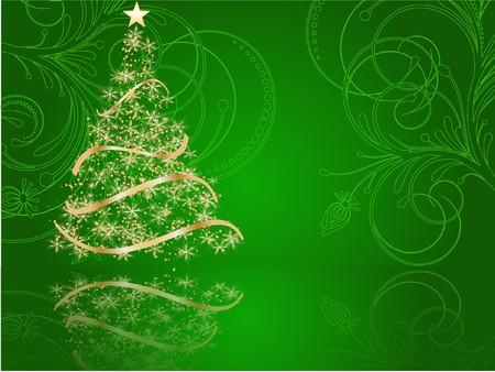 stylized Christmas tree on decorative background Stock Photo - 7772259