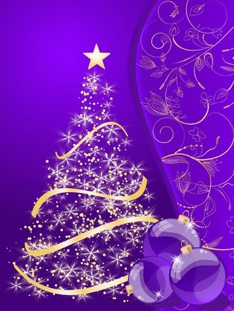 stylized Christmas ball and Christmas tree on decorative background Stock Photo - 7879482