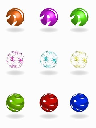 set of beautiful   balls emblem photo