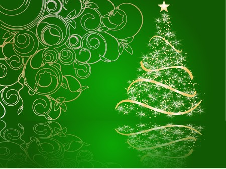 stylized Christmas tree on decorative background photo