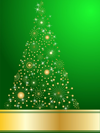 romantic picture: stylized Christmas tree on decorative background