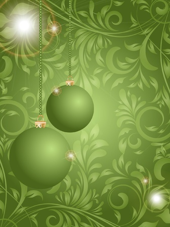 Christmas ball on flower decorative abstraction background Illustration