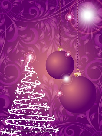 Christmas ball and tree on flower decorative abstraction background Vector