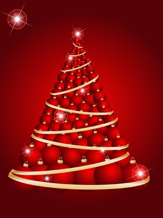 Christmas tree ball on decorative abstraction background Vector