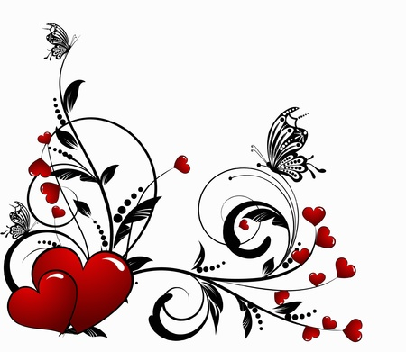 love picture: saint valentines day heart floral abstract background with butterfly
