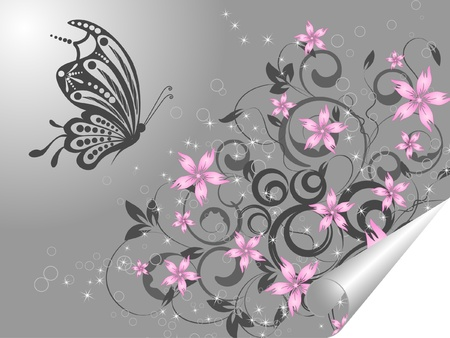 butterfly flower: floral creative decorative abstract background with buttrfly Illustration