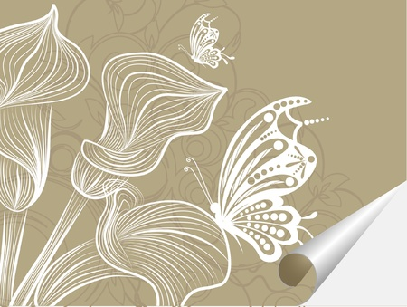 nature picture: floral creative decorative abstract background with buttrfly Illustration