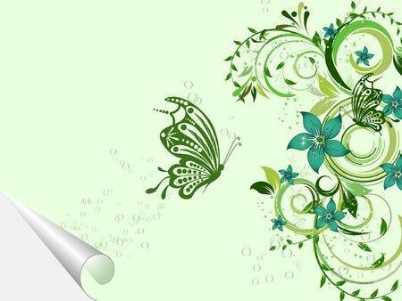 floral creative decorative abstract background with butterfly Vector