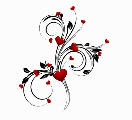 saint valentines day heart floral abstract background