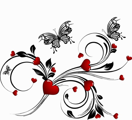 floral heart: saint valentines day heart floral abstract background with butterfly