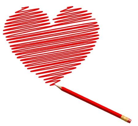 saint valentines: disegnare cuore schizzo matita rossa per San Valentino