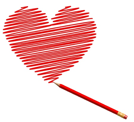 draw sketch heart by red pencil to saint valentines day  Vector