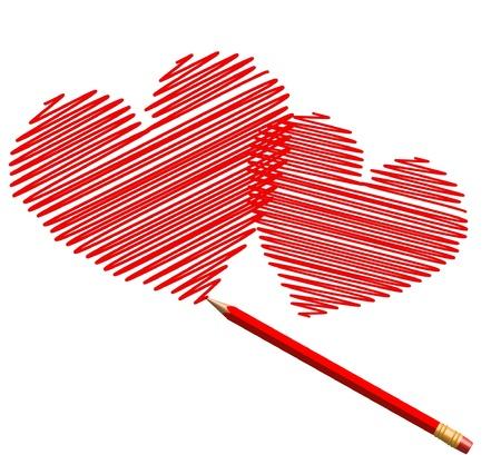 dessiner des c?ur de croquis en crayon rouge pour la Saint-Valentin