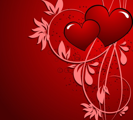 saint valentines day heart floral abstract background Ilustrace