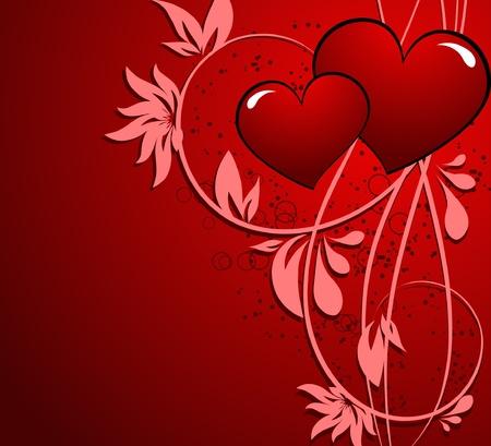 cuore: San Valentino cuore floreale astratto Vettoriali