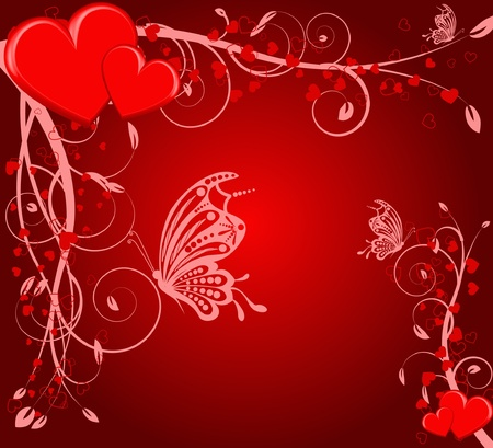 saint valentines day heart floral abstract background with butterfly Vector