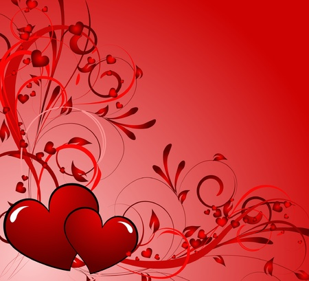 saint valentines day heart floral abstract background Vector