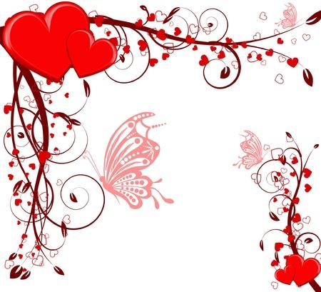 saint valentines: San Valentino cuore floreale astratto con farfalla