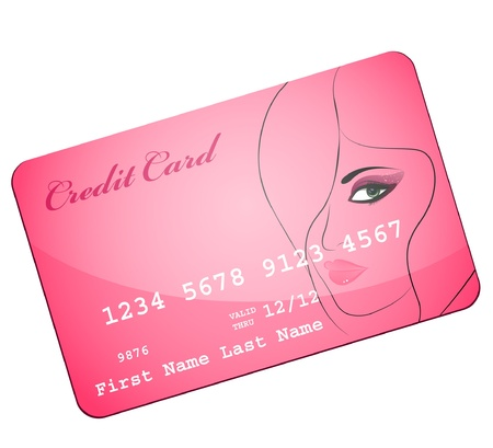 woman credit card: credit card wiht silhouette of pretty attractive girl
