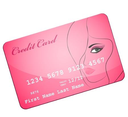 credit card wiht silhouette of pretty attractive girl Stock Vector - 8961184
