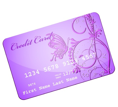 tally: butterfly flower credit card  Illustration