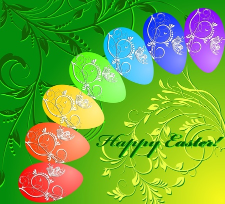 floral easter background with rainbow eggs Vector Illustration