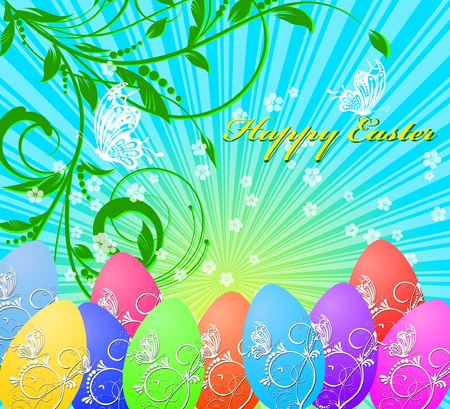testicle: floral easter background with rainbow eggs and butterfly