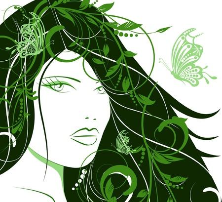 silhouette of pretty attractive spring girl Vector